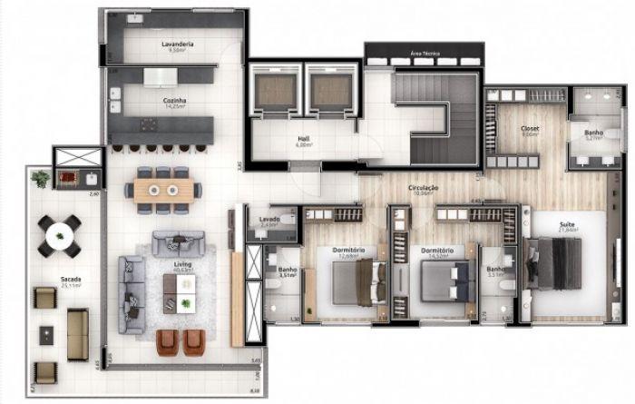 Apartamento de 3 dormitórios no bairro Americano em Lajeado