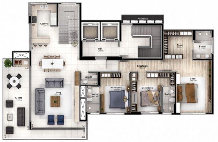 Apartamento - Cobertura de 3 dormitórios no bairro Americano em Lajeado